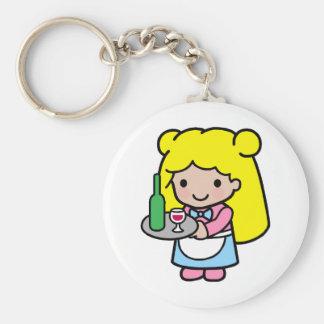 Waitress Basic Round Button Key Ring
