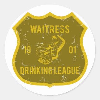 Waitress Drinking League Round Sticker