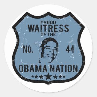 Waitress Obama Nation Round Sticker