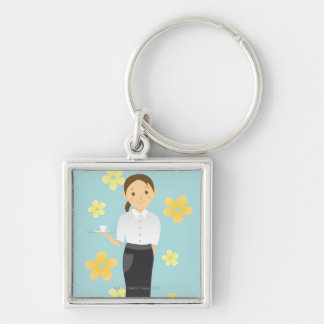 Waitress Silver-Colored Square Key Ring