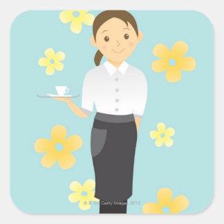 Waitress Square Sticker