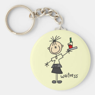 Waitress Stick Figure Basic Round Button Key Ring