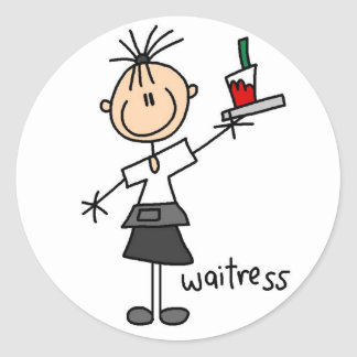 Waitress Stick Figure Sticker