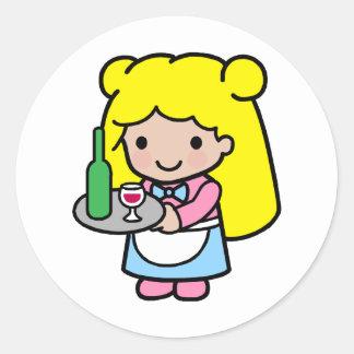 Waitress Round Sticker