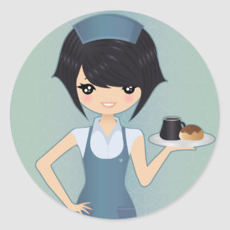 waitress classic round sticker