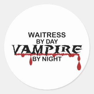 Waitress Vampire by Night Round Sticker