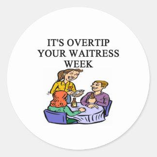waitress week joke round sticker