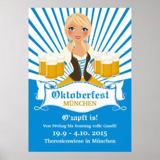 Waitress with Beer Stein Oktoberfest Poster