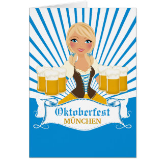 Waitress with Stein Oktoberfest Greeting Card