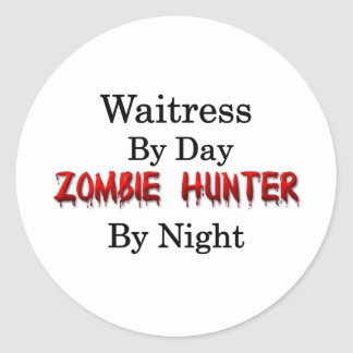 Waitress Zombie Hunter Round Stickers