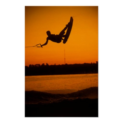 Wake Boarding Poster Brilliant Orange Sunset