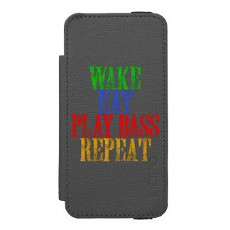 Wake Eat PLAY BASS Repeat Incipio Watson™ iPhone 5 Wallet Case