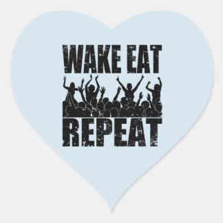 WAKE EAT ROCK REPEAT #2 (blk) Heart Sticker
