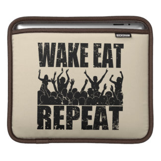 WAKE EAT ROCK REPEAT #2 (blk) iPad Sleeve