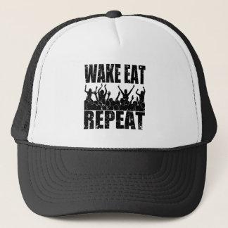 WAKE EAT ROCK REPEAT #2 (blk) Trucker Hat