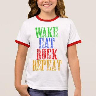 WAKE EAT ROCK REPEAT #3 RINGER T-Shirt