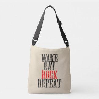 WAKE EAT ROCK REPEAT (blk) Crossbody Bag