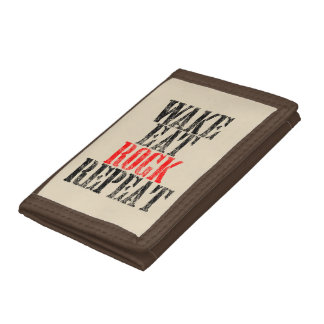 WAKE EAT ROCK REPEAT (blk) Tri-fold Wallets