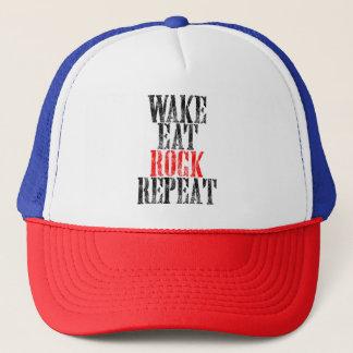 WAKE EAT ROCK REPEAT (blk) Trucker Hat