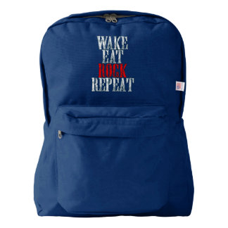 WAKE EAT ROCK REPEAT (wht) Backpack