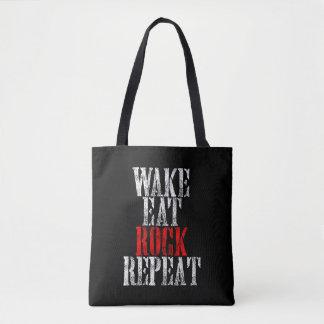 WAKE EAT ROCK REPEAT (wht) Tote Bag