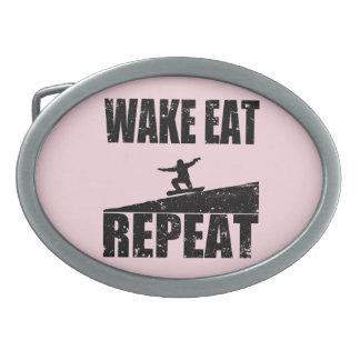 Wake Eat Snowboard Repeat #2 (blk) Oval Belt Buckles