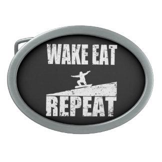 Wake Eat Snowboard Repeat #2 (wht) Belt Buckles