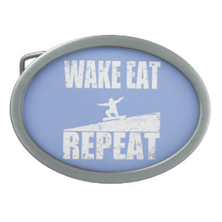 Wake Eat Snowboard Repeat #2 (wht) Oval Belt Buckles