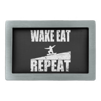 Wake Eat Snowboard Repeat #2 (wht) Rectangular Belt Buckles