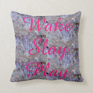 Wake Slay Play Rainbow Crystal Pink  REVERSABLE Cushion