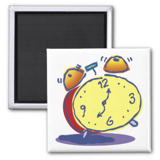 Wake Up! Alarm Clock Square Magnet