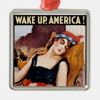 Wake Up America Silver-Colored Square Decoration