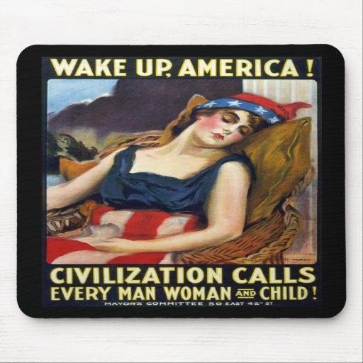 Wake up America! Vintage World War I Poster Mouse Pads