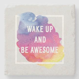 Wake Up And Be Awesome Stone Beverage Coaster