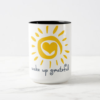 Wake Up Grateful Two-Tone Coffee Mug