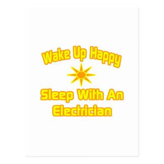 Wake Up Happy ... Sleep With an Electrician Postcard