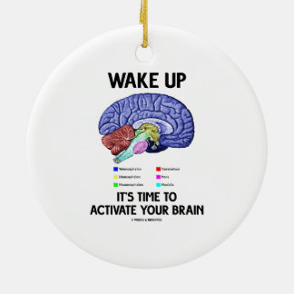 Wake Up It's Time To Activate Your Brain (Humor) Christmas Ornament