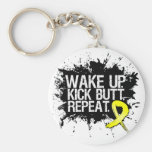 Wake Up Kick Butt Repeat - Endometriosis Basic Round Button Key Ring