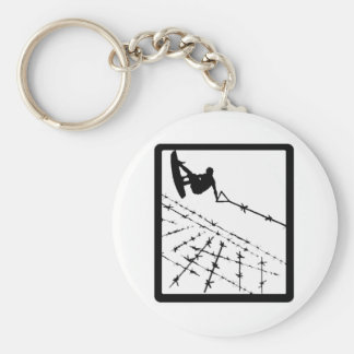 WAKEBOARD BARB WIRED BASIC ROUND BUTTON KEY RING
