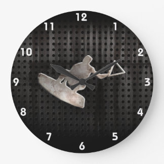 Wakeboarder; Cool Black Large Clock