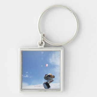 Wakeboarder Jumping Silver-Colored Square Key Ring