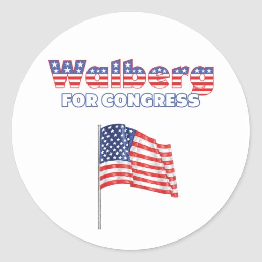 Walberg for Congress Patriotic American Flag Stickers