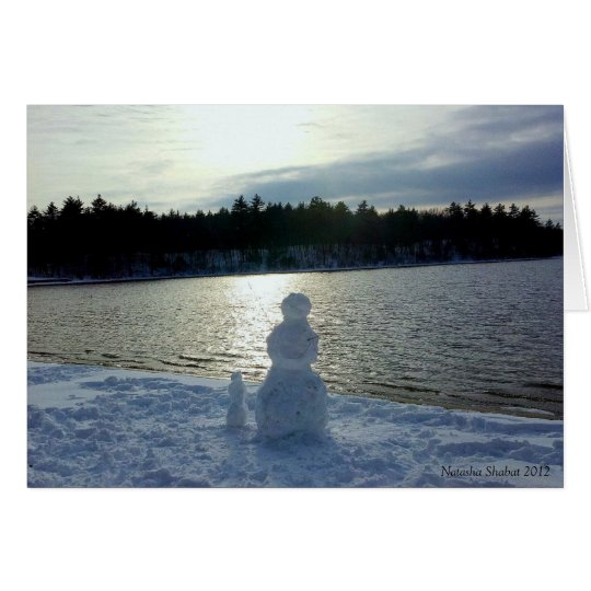 Walden Pond Snow Man Holiday Card