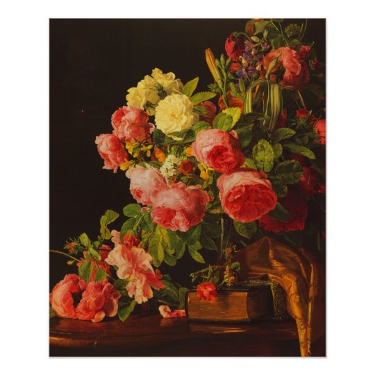 Waldmuller - Still life with roses Poster