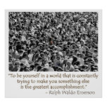 Waldo Emerson quote - be yourself poster
