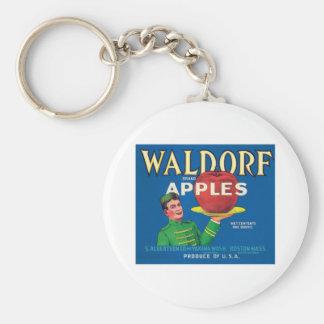 Waldorf Apples Vintage Label Basic Round Button Key Ring