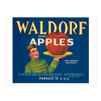 Waldorf Brand Apples Vintage Crate Label Postcard