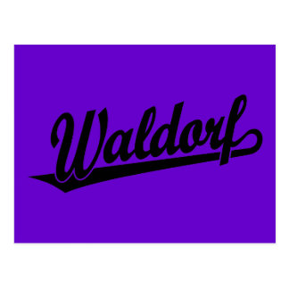 Waldorf script logo in black postcard