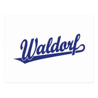 Waldorf script logo in blue postcard