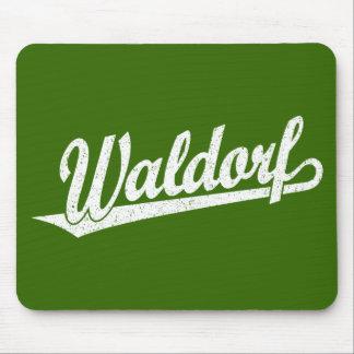 Waldorf script logo in white distressed mousepads